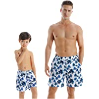 Father and Son Swim Trunks Matching Hawaiian Floral Beach Board Shorts Swimwear with Pocket