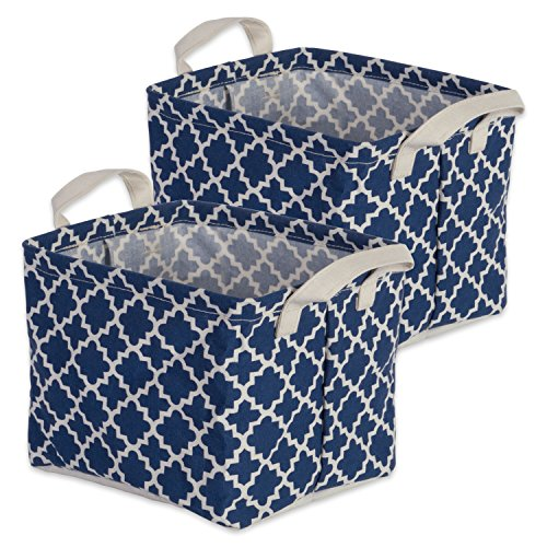"DII Cotton/Polyester Cube Laundry Basket, Perfect In Your Bedroom, Nursery, Dorm, Closet, 9 x 12 x 8"", Small Set of 2 - Nautical Blue Lattice"