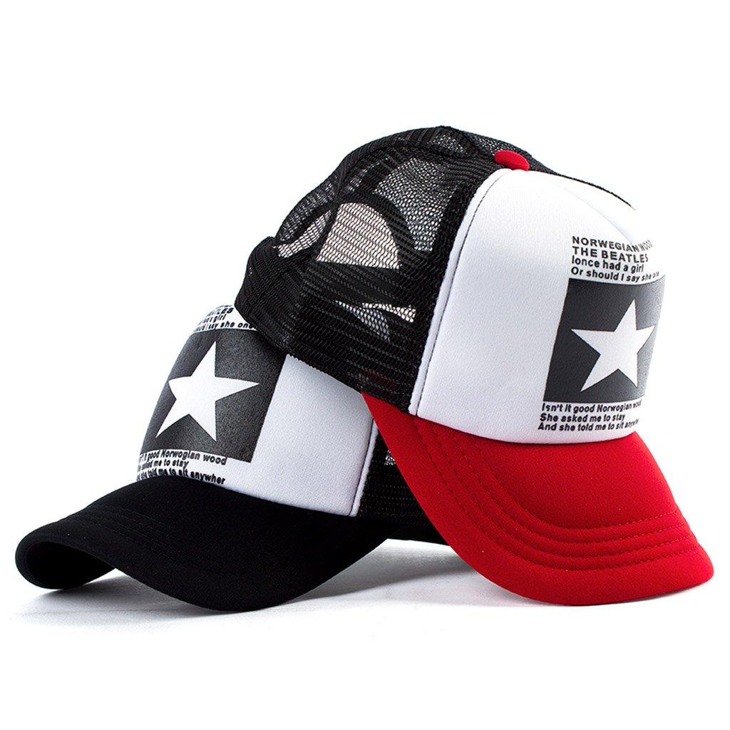 JOYKK Gorra de b/éisbol Cinco en Punta Estrella Malla Snapback Ajustable Sombreros Hombres Mujeres 3# Negro