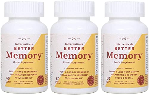 Interceuticals Better Memory – Theracurmin Curcumin 90 mg – Clinically Proven Dose, Improves Focus, Recall, Memory, and Mood* – High Absorption Turmeric Extract* 3 Bottles