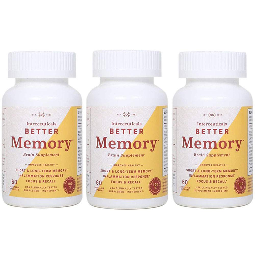 Interceuticals Better Memory - Theracurmin Curcumin 90 mg - Clinically Proven Dose, Improves Focus, Recall, Memory, and Mood* - High Absorption Turmeric Extract* (3 Bottles)