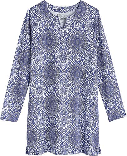 Coolibar UPF 50+ Girl's Oceanside Tunic Dress- Sun Protective (Large- Empire Blue Boardwalk Medallion) from Coolibar