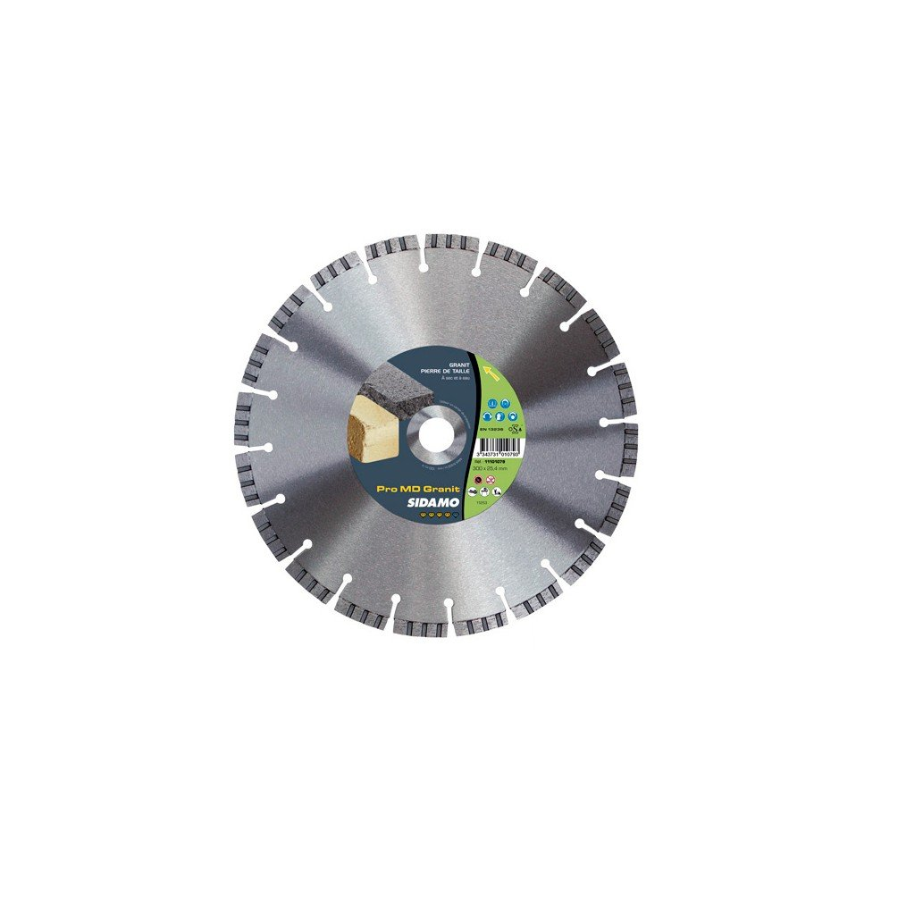 Sidamo–Festplatte Diamant Pro MD Granit D.350x 25,4–20x 10x EPH. 3,2mm–Harte Materialien–11101082