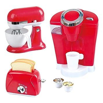 PlayGo Pack 3 Accesorios Cocina, cafetera, batidora y tostadora Color Rojo ColorBaby 44912: Amazon.es: Juguetes y juegos