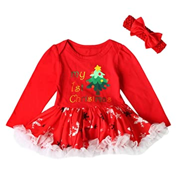 WuyiMC Baby Girl Christmas Lace Romper Bodysuit Tutu Dress Clothes Set