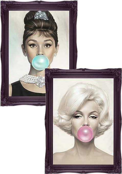 Audrey Hepburn Blue Bubblegum Art Poster Print Marilyn Monroe ...