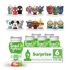 NEW good2grow Surprise Rotating Character 6 Pack Apple Juice,Spill Proof Tops, New Characters Available Every 2 Months, 6-Ounce Bottles, Non-GMO with no Sugar Added and Excellent Source of Vitamin C
