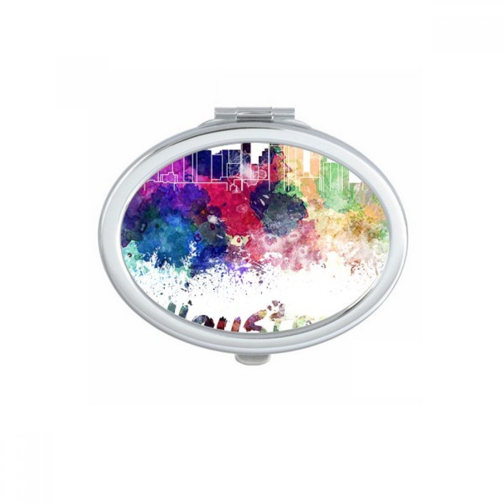 Houston America Country City Watercolor Illustration Oval Compact Makeup Pocket Mirror Portable Cute Small Hand Mirrors Gift