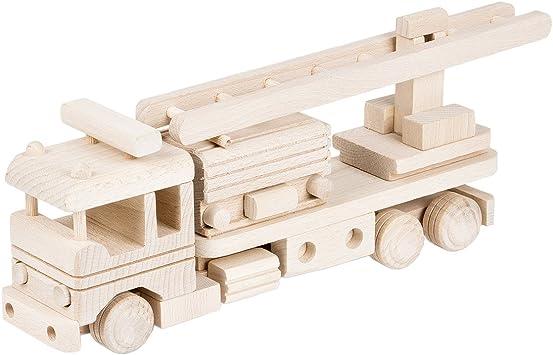 Madera coche de bomberos Escalera Deco Page Madera Auto madera juguete: Amazon.es: Hogar