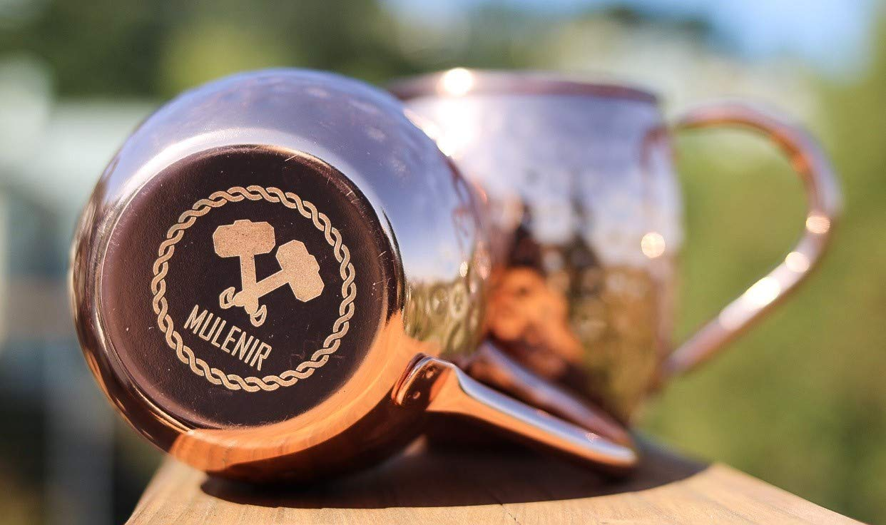 Mulenir Moscow Mule Mugs – Pair Of Copper Mugs Styled With a Hammered Finish – Welded Handles – Lined With Food Safe Stainless Steel- Includes Mule Recipe Book – Great Gift For Weddings And Holidays