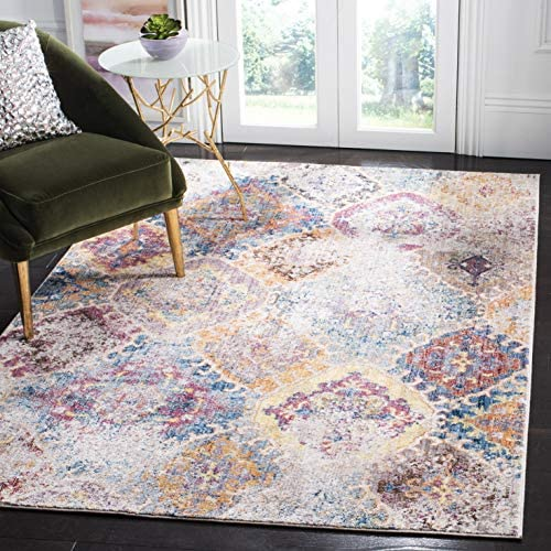 Safavieh Bristol Collection BTL351D Blue and Light Grey Vintage Distressed Bohemian Area Rug 9' x 12'