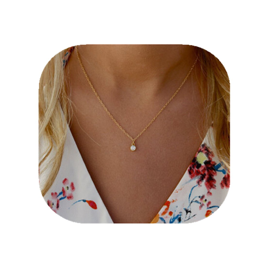 CHENCAN01 Simple Alloy Short Clavicle Necklace Drill Pendant Gold Plated Necklace/Exquisite Single Stone Necklace/Simple Necklace/Bridal Party Gift