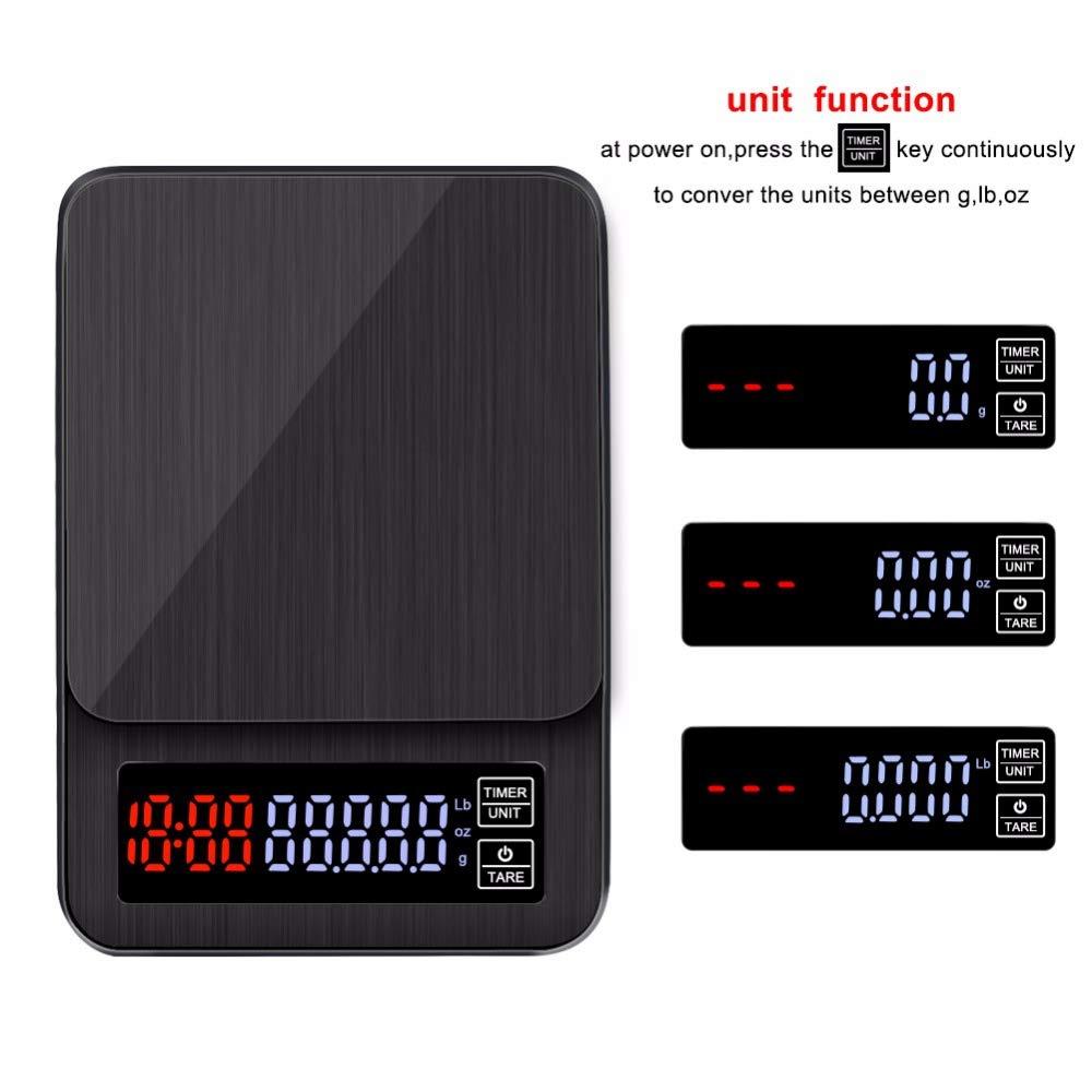 TOOGOO Mini Balance de Caf/é Goutte /à Goutte /électronique LCD Num/érique avec Minuterie Minuterie pour Balance Goutte /à Goutte de M/énage de Pesage de Caf/é Num/érique 3Kg 0.1G