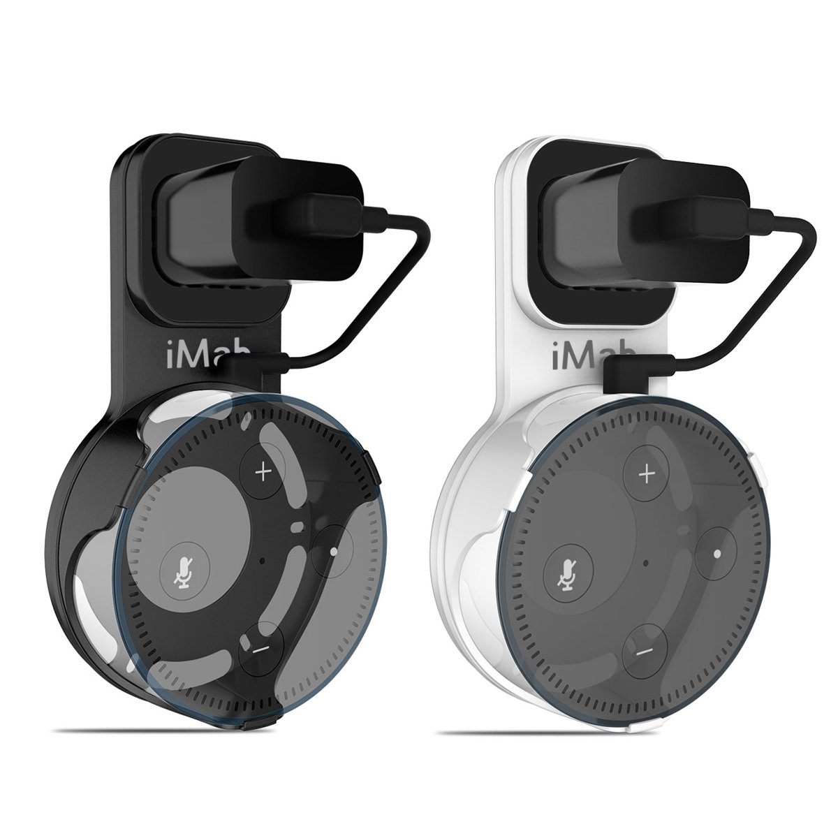 iMah Echo Dot Wall Mount with Short Charging Cable for Echo Dot 2nd Generation, Wall Mount Holder for Echo Dot 2nd & Other Round Voice Assistants, Simple way to cleanly display (2-Pack, Black & White)
