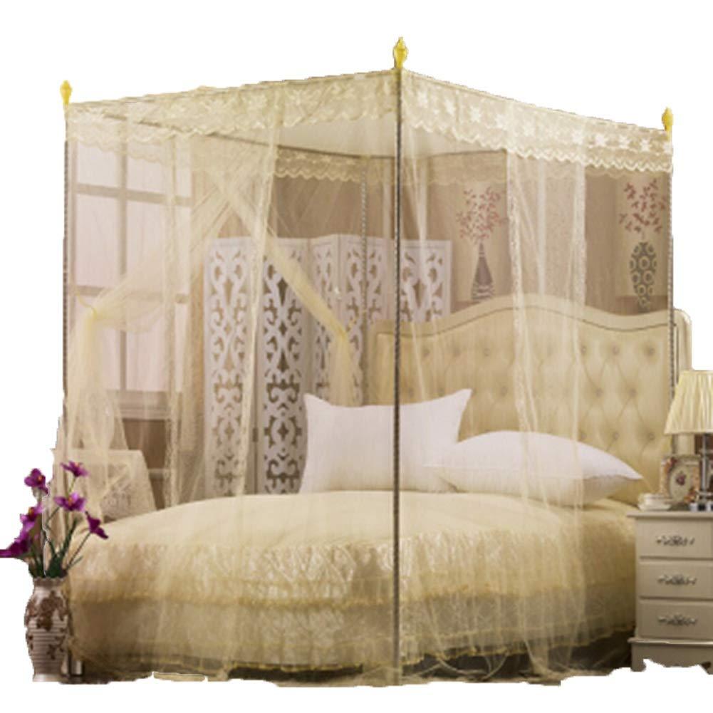ベッドのカーテン3ドアのカーテンレースのカーテン大胆な金属製ブラケット5サイズのベッドに適しています蚊に刺されが厚くなる暗号化されたベッドカーテン GMING (サイズ さいず : ベージュ-1.5x2.0M bed, サイズ さいず : 22mm support) B07QS88Y27