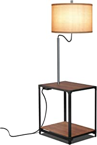 LED Floor Lamp with End Table and USB Charging Port, Modern Bedside Nightstand Lighting, Attached Side Table with Shelves for Living Room, Bedroom, Guest Room, Walnut