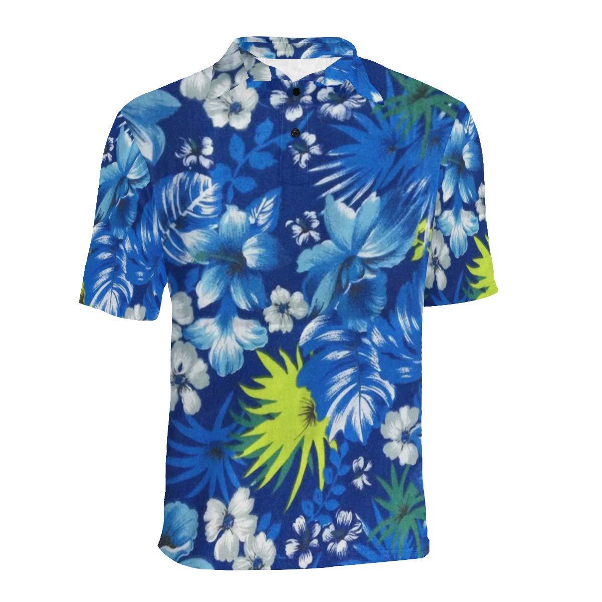 UlanLi Short Sleeve Blue Leave Mens All Over Print Polo Shirt