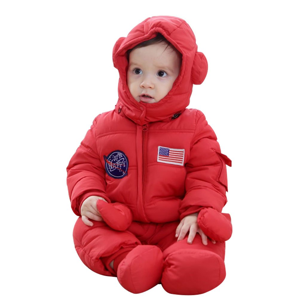 Vine Baby Snowsuits Hooded Rompers, Winter Overalls Jumpsuits For Boys and Girls 3pcs H171214PF007