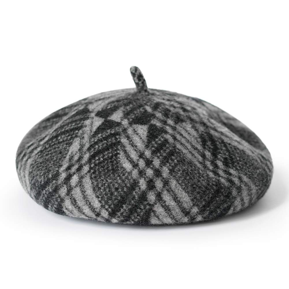 Vintage Beret,Literary Plaid Painter Hat