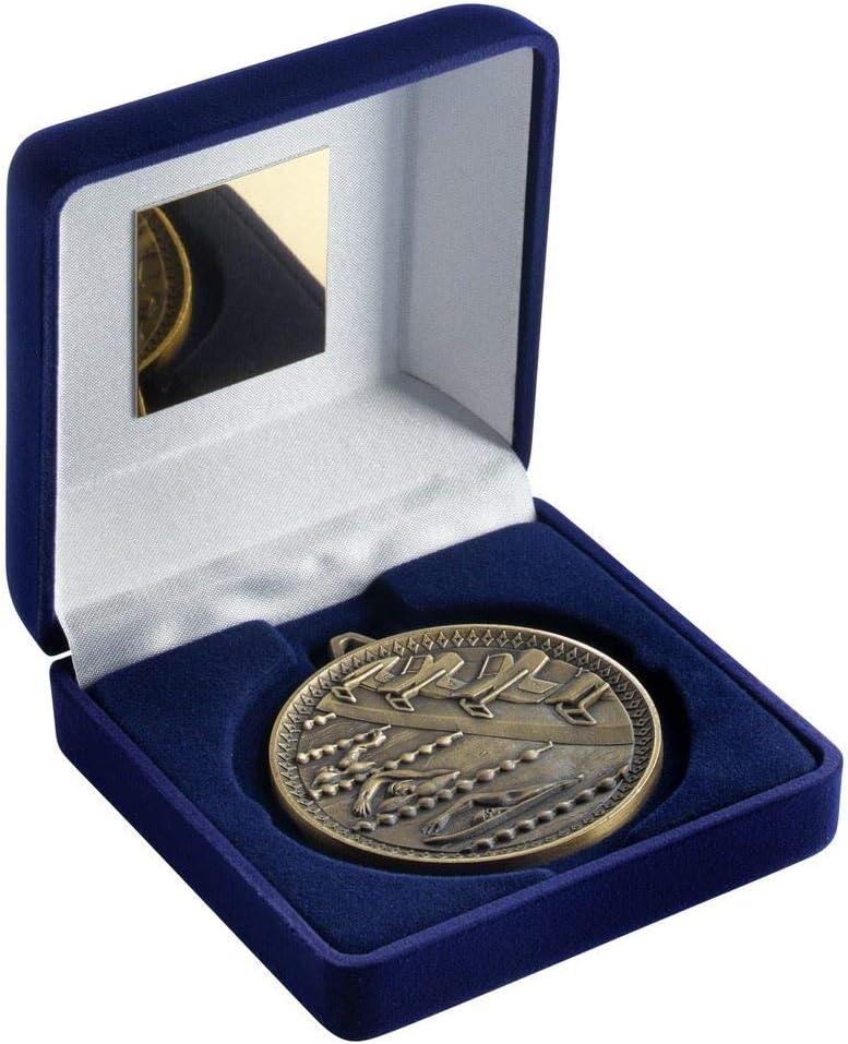 Lapal Dimension - Caja de Terciopelo Azul y Trofeo de baño con Medalla de 60 mm, Color Dorado Envejecido, 10 cm: Amazon.es: Deportes y aire libre