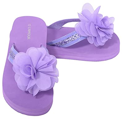 9b29f9805be7 L Amour Little Girls 11 Purple Sequin Strap Flower Flip Flop Sandals