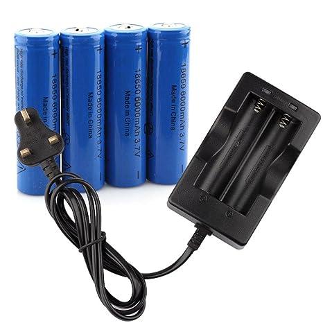 Malloom 4pc 6000mAh Recargable del Li-Ion 18650 batería 3.7v ...