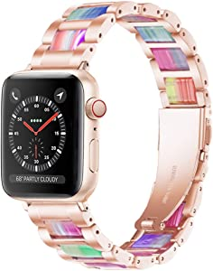 Light Apple Watch Band - Resin with Stainless Steel Luxury iWatch Band Bracelet Compatible with Comfortable Stainless steel buckle for Apple Watch Series SE 6 5 4 3 2 1 (Rose-Rainbow, 38mm/40mm)