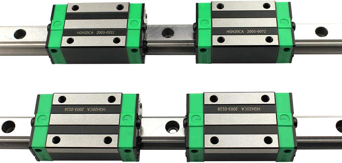 SNWNYN 2 St/ück HGR20-200mm Linearschiene mit 4 St/ück HGH20CA Schlittenschieberblock 20mm lineare Schiene Gleitset Set f/ür DIY 3D Drucker und CNC-Maschine