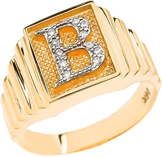 14k Yellow Gold w//Diamond Accent Initial Letter B Ring Size 7
