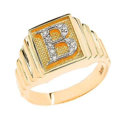 venta caliente online venta al por mayor brillo de color Para hombre 14 K Banda con capa de oro cara cuadrada anillo ...
