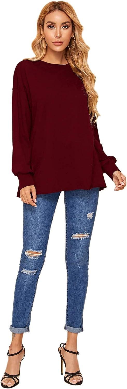 Floerns Womens Split Open Back Shirts Drop Shoulder Sweashirt Pullover Tops