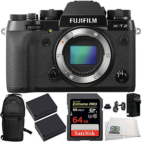Fujifilm X-T2 Mirrorless Digital Camera (Body Only) 6PC Bundle Includes Two W126 Batteries + SanDisk Extreme PRO SDSDXPA-064G-X46 SDXC Flash Memory Card + MORE by SSE