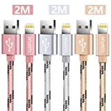 [3-PACK]iPhone Kabel, LUVFUN® 2M Nylon Lightning USB Kabel iPhone Ladekabel Datenkabel für iPhone 8 / 8 Plus / 7 / 7 plus / 6s / 6s plus / 6 / 6 plus / SE / 5s / 5c / 5, iPad 2 / 3 / 4 Mini, iPad Pro Air, iPod & more (Roségold+Silber+Gold)