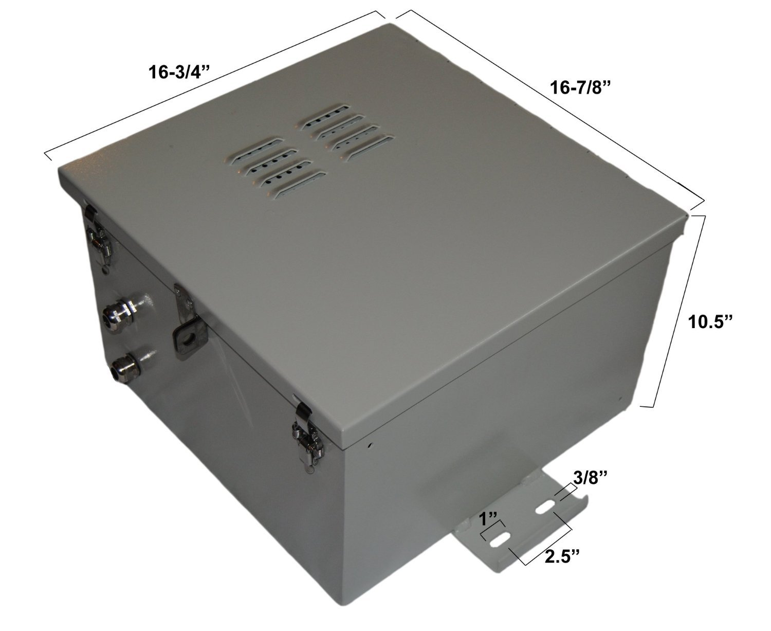 NEMA 4X Aluminum Electrical & Battery Enclosure 17'' x 17'' x 10'' with Back Plate