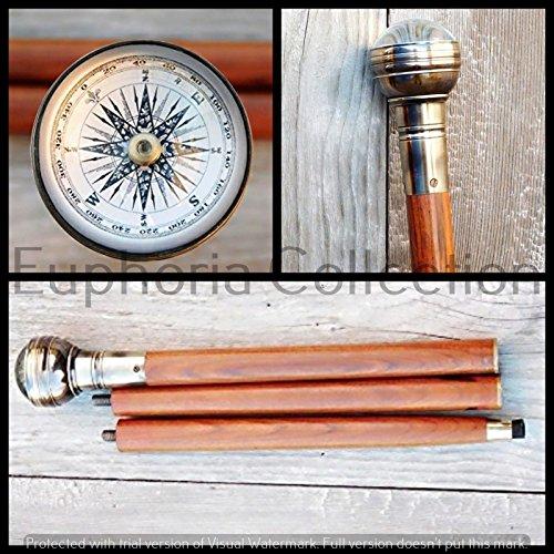 Nautical Brass Antique Compass Walking Stick Vintage Brass Walking Cane Stick