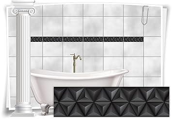Fliesenaufkleber Fliesenbild Fliesen Aufkleber Mosaik Schwarz Kachel Bad WC  Küche Deko Kachel Badezimmer, 20 Stück