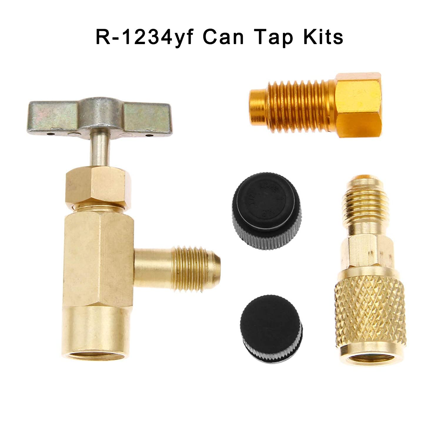 gohantee 5Pcs Brass R1234yf Special Can Tap Adapter Fittings Kit for R134a R12 R22 Charging Hose 1//4 SAE 1//2 Acme LH