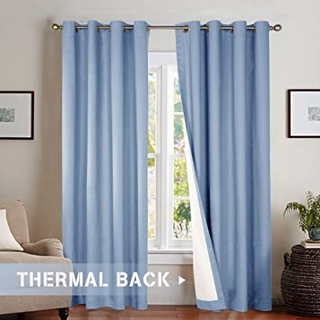 Bedroom Room Darkening Curtains, Energy Saving Lined Drapes For Living Room  84 Inch Length,