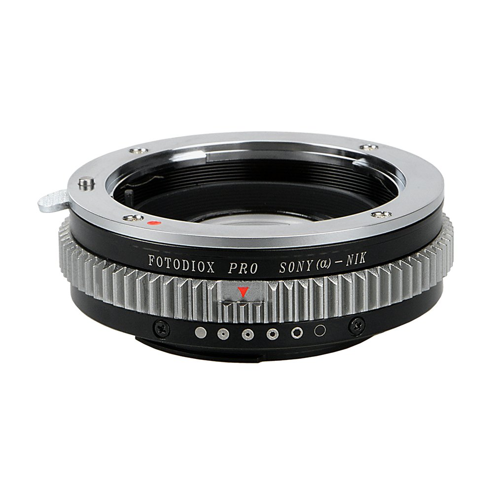 Fotodiox Pro Lens Mount Adapter - Sony Alpha A-Mount (and Minolta AF) DSLR Lens to Nikon F Mount SLR Camera Body with Built-In Aperture Control Dial by Fotodiox