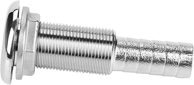 Boat Threaded Fitting,Stainless Steel Thru-Hull Fitting Marine Hose Barb Connector Barbed Hose Thru Drain