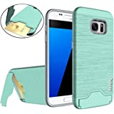 Coque Galaxy S7 Edge Samsung,Nakeey[ Slim-Fit]Card Holder [Vert] Porte Carte pour Apple Galaxy S7 Edge [Housse de Protection][Kickstand][Anti Scratch Case][Anti Chocs] Dual Layer Protective with Card Slot Holder Wallet Housse Etui Coque Pour Galaxy S7 Edge vert