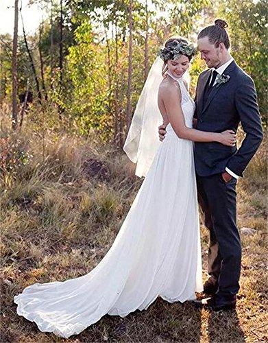 Schienale Abiti Chiffon Abiti Senza Bianco Spiaggia Sposa Delle Sposa Pi A Drehouse Odia line Da Donne Da Dimensioni Pdx7Hqw1