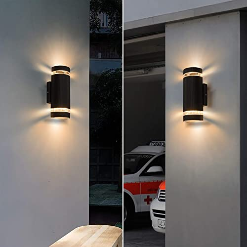 Outdoor Wall Lights,Semi Waterproof Sconce GU10 Porch Lighting,Black Aluminum Up and Down Wall Mount Light Fixture,3000k Warm White LED Lamps,Pack of 2
