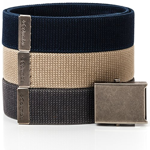 Buckle Logoed Belt Mens (Columbia Men's Military-Style Web Belt (3 Pack),Navy/Beige/Charcoal,42)