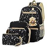Polade Girls Lightweight Canvas Casual Daypack School Backpack + Shoulder Bag + Pencil Case(3 PCS)