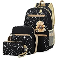 Polade Girls Lightweight Canvas Casual Daypack School Backpack + Shoulder Bag + Pencil Case(3 PCS)