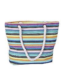 "BIBITIME Summer Beach Bag Canvas Travel Big Tote Bag Shopping Bag Shoulder Bag Crossbody Bag Handbag Purse, 15.7""x11.8""x4.7"""