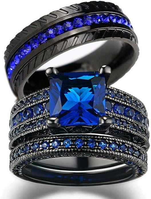 Stacking Ring Set \u2022 Stacking Silver Ring \u2022 Blue Sapphire lab ring \u2022 Elegant and classy stack rings \u2022 White Opal and CZ Ring