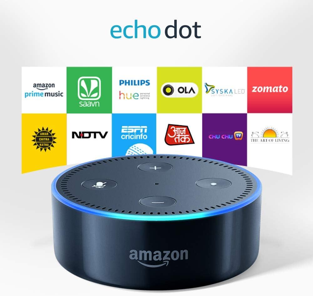 Echo Dot (2nd Gen), Certified Refurbished, Black – Smart speaker with Alexa – Like new, backed with 1-year warranty