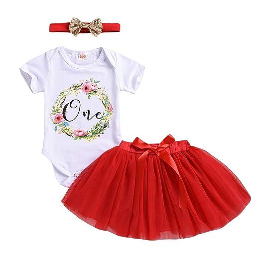 d94ff3b2b3de Baby Girls Princess Dress Newborn Girl 1st Birthday Skirt Infant Floral  Romper Tulle Tutu Skirt Set